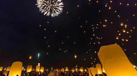 yeepeng : Time Lapse Many Fire Lanterns Floating In Famous Loy Krathong Festival Of Chiang Mai Thailand 2013