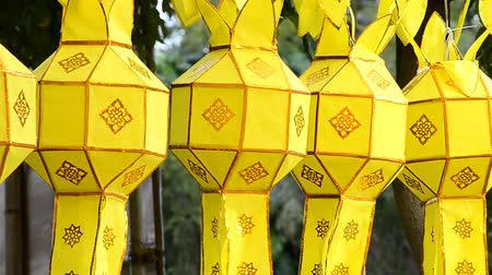 аккуратный : thai lanterns in loi krathong festival of chiang mai thailand Стоковые видеозаписи