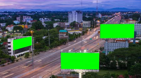 prapor : time lapse long highway and three big billboard day to night