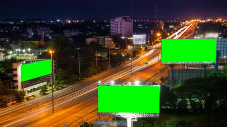 billboards : time lapse long highway and three big billboard (loop)