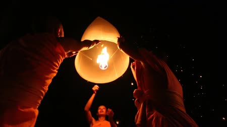 peng : Lanna Dhutanka, October 7, - Monks Floating Lantern Up To Sky In Loy Krathong Festival, Chiang Mai, Thailand 2014 Stock Footage