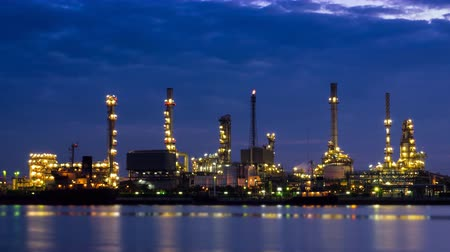 chemistry : Time Lapse Oil Refinery Station Night To Day Stock Footage