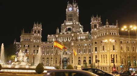 madryt : Palace of Communication at Night. Madrid, Spain Wideo