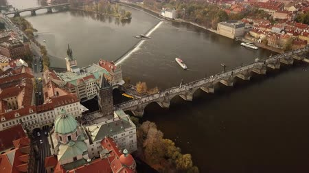 mala : Prague Aerial of the old town center around Charles Bridge Vídeos