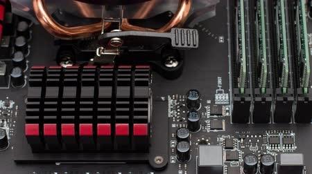 socket : Motherboard computer with details cooling memory and processor