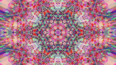 artístico : Colorful Kaleidoscopic Video Background. Colorful kaleidoscopic patterns. Zoom in rainbow color circle design. Or for events and clubs medalion, yoga, india, arabic, mandala, fractal animation