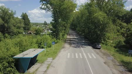 birch : Aerial View. Flying over the beautiful forest trees and road.. Aerial camera shot. Landscape panorama.