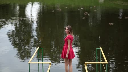 action animals : A very beautiful girl in a red dress is standing on a pier near a small lake.
