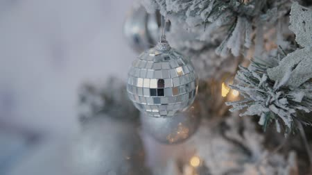 christmas ball gold : Christmas and New Year Decoration. Abstract Blurred Bokeh Holiday Background. Blinking Garland. Christmas Tree Lights Twinkling.