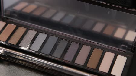 kompakt : Rotating professional makeup eyeshadows palette, closeup.