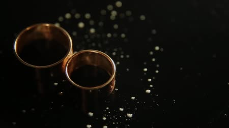 platina : Wedding rings lying on dark surface with reflection and water. Shining with light close up macro. Vídeos