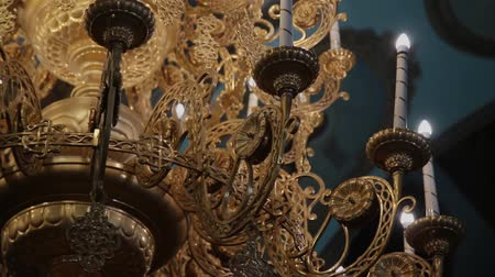 victorian : Dolly shot of a beautiful chandelier. Stock Footage