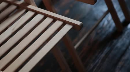 lecture : Empty wooden chairs in the classroom for training. Stock Footage