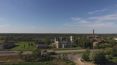 архитектура и здания : Flight over the house built in the style of the castle.
