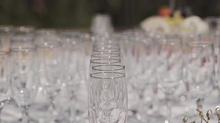 пивоваренный завод : Empty champagne glasses on the buffet table. Стоковые видеозаписи
