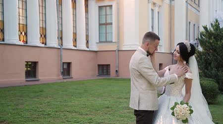 новобрачный : Newlyweds hug and enjoy each other on their wedding day. Стоковые видеозаписи