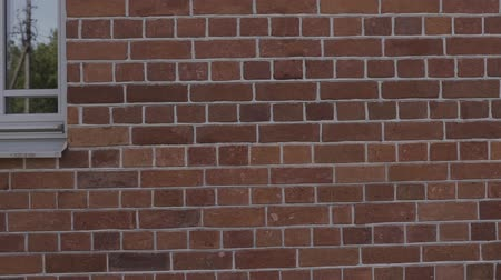 обжиг : Slow motion handheld closeup pan of filled seams on brick wall.