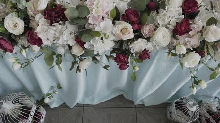 white cloths : decorated table for a wedding dinner. Stock Footage