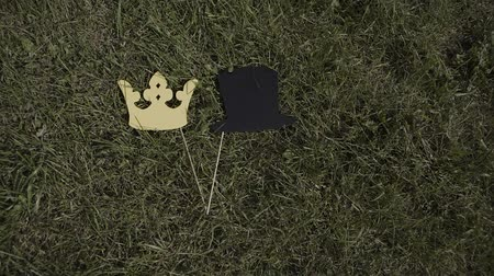 piada : paper hat and crown on a stick lie on the grass.