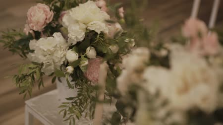 toalha de mesa : decorated table for a wedding dinner. Stock Footage