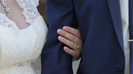 медовый месяц : Newlywed Couple Holding Hands, Shot In Slow Motion.
