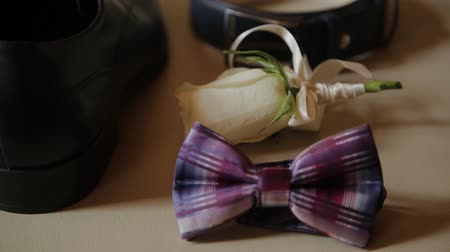 manşet : set wedding groom, mens accessories for wedding. Stok Video