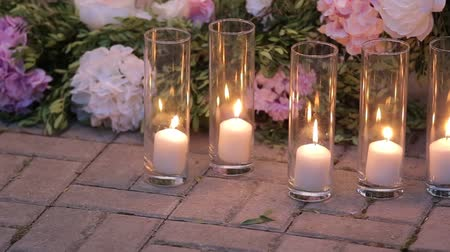 settings : decorated table for a wedding dinner. Stock Footage