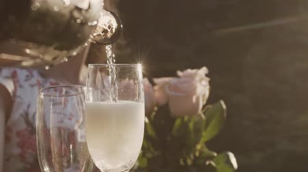 flet : Champagne slow motion pour with Christmas lights and lens flare