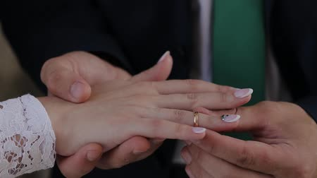závazek : Very beautiful newlyweds put rings on each other.
