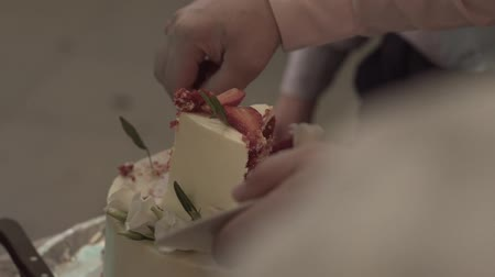 wed : Wedding cake   during the wedding party while photographers shooting. Stock Footage