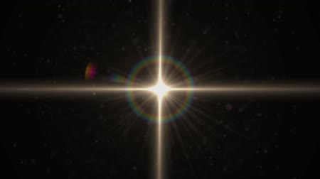 sun beam : The warm light on the dark background. anamorphic lens flare. Stock Footage