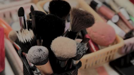 blusher : A set of brushes for makeup on the table makeup artist. Stock Footage