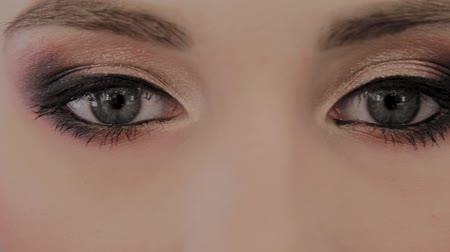 gözler : Beautiful eyes of a model photo close up. Stok Video