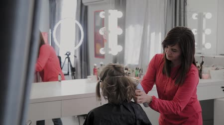 для взрослых : Professional hairdresser does a girls hairstyle for a photo shoot.