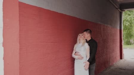 imparator : Happy couple in love standing under the arch at home and holding hands. Stok Video