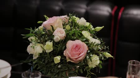 spring flowers : Beautiful wedding bouquet on the festive table.