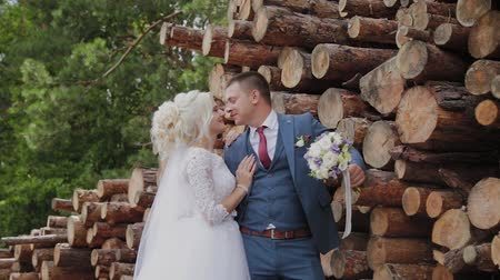 família : Beautiful groom and blonde bride by the logs in the forest hug and kiss. Vídeos