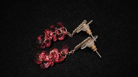 prim : Beautiful female earrings on a black rotating stand. Premium Jewelery. Macro. Stok Video