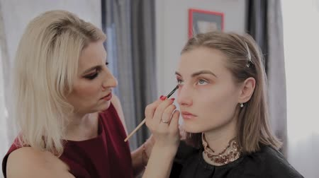 solliciteren : Makeup artist applies professional makeup to a beautiful young girl. New concept in makeup. Stockvideo