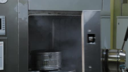 dezenfekte etmek : Laboratory employee opens autoclave for sterilization. Stok Video
