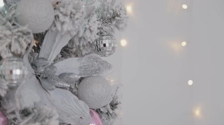 Новый год : Beautiful Christmas silver tree. New Year 2020.
