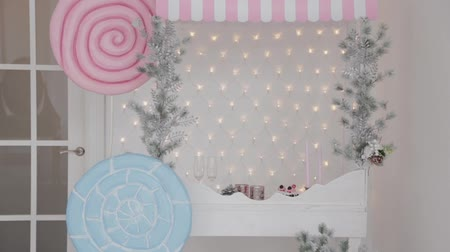 fish ball : Beautiful Christmas decor in the studio. New Year 2020. Stock Footage