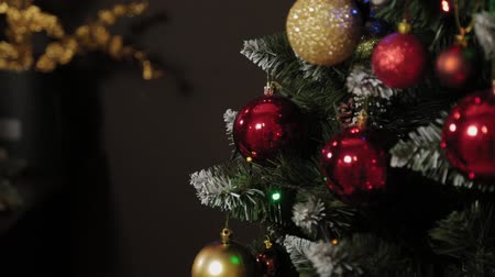 christmas tree with lights : Details of New Year decorations. New Year 2020.