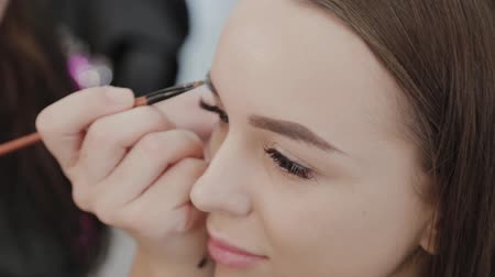 make up artist : Professional makeup artist woman stirs makeup cream on a palette. Stock Footage