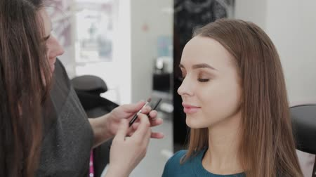 палитра : Professional makeup artist woman stirs makeup cream on a palette. Стоковые видеозаписи