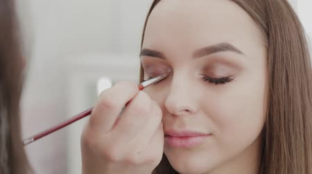 eyeshadow : Professional makeup artist woman stirs makeup cream on a palette. Stock Footage