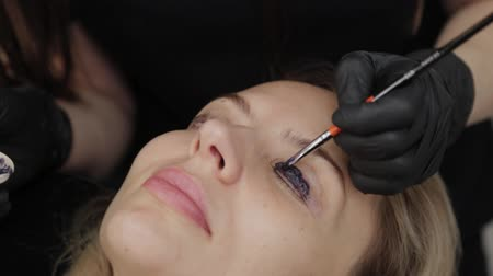 eyebrow correction : Professional beautician in a beauty salon paints eyelashes to a client.