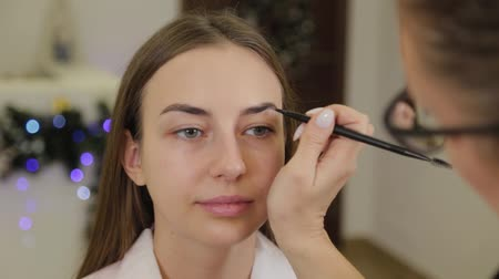 kaşları : Professional makeup artist paints eyebrows to a client of a beauty salon. Stok Video