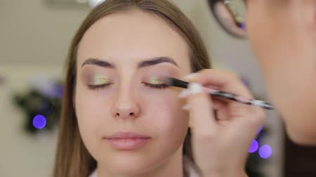 rímel : Professional eye makeup. Stylist makeup artist applies makeup to a young woman with a special brush in a beauty salon.