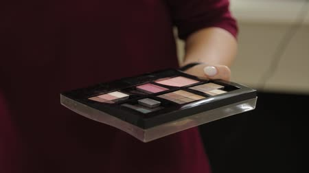 装飾品 : Professional makeup artist with a palette in his hand does makeup. 動画素材
